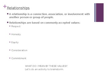 Healthy Relationships PowerPoint Lesson