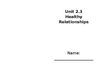 Healthy Relationships Student Booklet