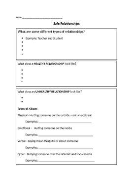 Healthy Relationships Worksheet