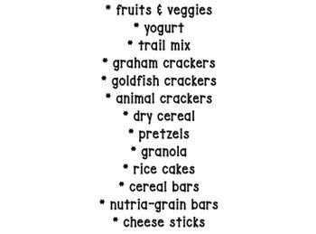 Healthy Snack Parent Request Letter