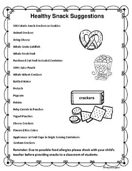 Nutrition - Healthy Snack Suggestions Handout