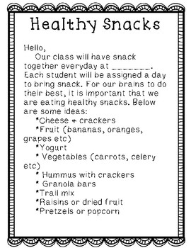 Healthy Snack letter for parents