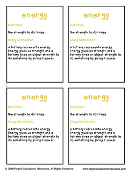 Healthy Foods Snack Vocabulary: Crazy Connections Posters and Trading Cards