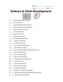 Embryo and Fetal Development Assignment