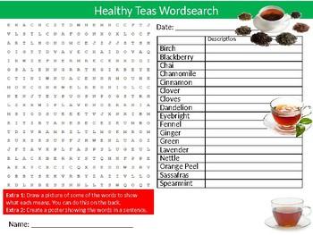 Healthy Teas Wordsearch Puzzle Sheet Keywords Activity Food Health