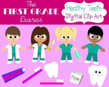 Healthy Teeth {Digital Clip Art} Teeth, Dentist, Toothbrush