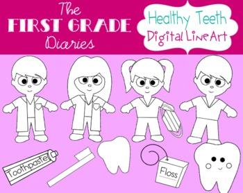 Healthy Teeth {Digital Line Art} Teeth, Dentist, Toothbrush