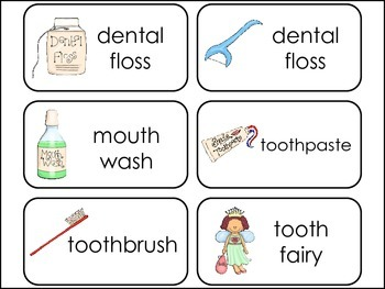 Healthy Teeth Picture Word Flash Cards.