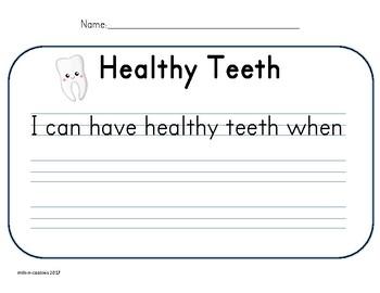 Dental Health / Healthy Teeth Writing Paper