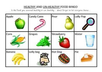 Healthy & Un-Healthy food Bingo