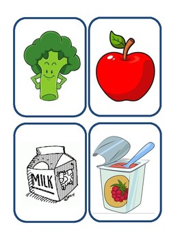 healthy and unhealthy food flashcards