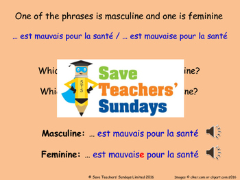 Healthy & Unhealthy and Gender agreement in French Lesson plan and Resources