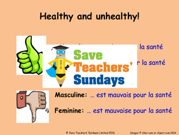 Healthy & Unhealthy and Gender agreement in French Lesson