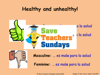 Healthy & Unhealthy and Gender agreement in Spanish Lesson plan and Resources