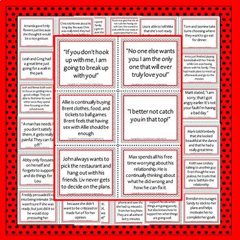 Healthy V.S. Unhealthy Dating Scenario Cards