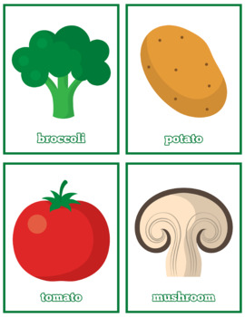 Healthy Vegetables Flash Cards; Kindergarten; Preschool; Homeschool; Literacy