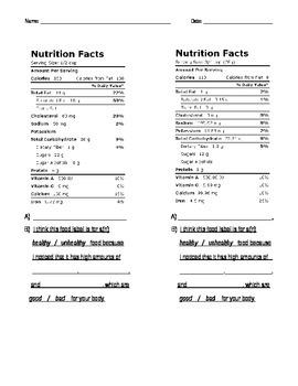 Healthy Vs. Unhealthy Food (Nutrition Labels)