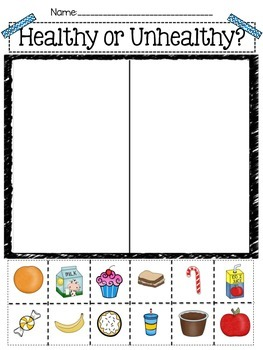Health Vs Unhealthy Foods Worksheets Teaching Resources Tpt