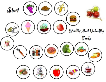 Healthy and Unhealthy Food game board.