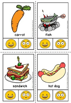 Healthy and unhealthy clip cards.
