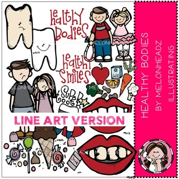 Melonheadz: Healthy bodies clip art - LINE ART