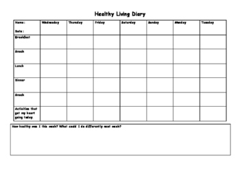 Healthy living Diary