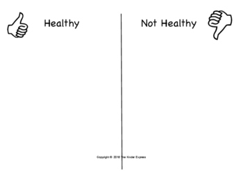 Healthy or Not Healthy? Food Sort Cut and Paste