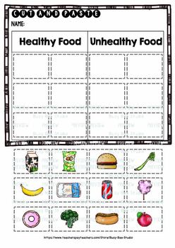 Healthy vs Unhealthy Food | Category Sort | Cut and Paste Worksheets