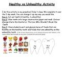 Healthy vs Unhealthy Food Dental Health Sort Precious Preschoolers