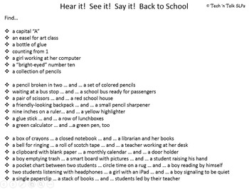 Hear it!   See it!   Say It!   Back to School Seek and Find
