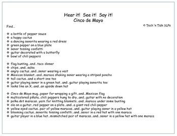 Hear it!   See it!   Say It!   Cinco de Mayo Seek and Find