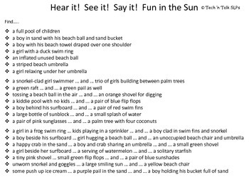 Hear it!   See it!   Say It!   Fun in the Sun Seek and Find