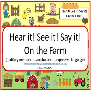 Hear it!   See it!   Say It!   On the Farm