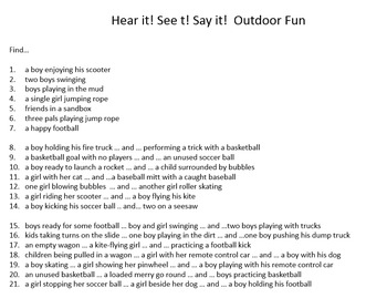 Hear it!   See it!   Say It!   Outdoor Fun Seek & Find