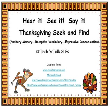 Hear it!  See it!  Say It!  Thanksgiving Seek and Find