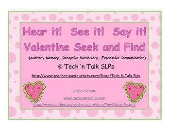 Hear it!   See it!   Say It!   Valentine Seek and Find