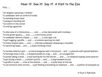 Hear it!  See it!  Say it!  A Visit to the Zoo
