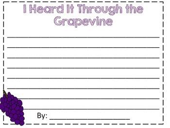 Heard it Through the Grapevine Writing Craftivity (Back to School)