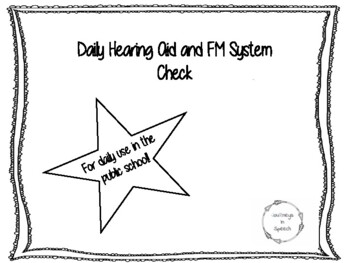 Hearing Aid and FM system check form