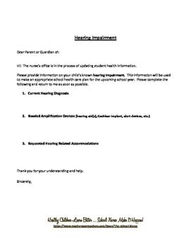 Hearing Impairment / Deficit Parent Letter PDF
