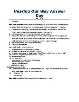 Hearing Our Way magazine Reading Comprehension Questions Vol. 1 No. 2