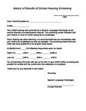 Hearing Screening Follow-up Letter