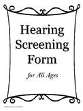 Hearing Screening Form