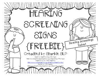 Hearing Screening Signs FREEBIE