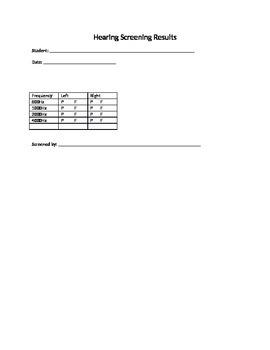 Hearing Screening result form