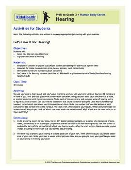 Hearing Teacher's Guide (Pre-K to Grade 2)