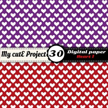 "Heart 1 - DIGITAL PAPER - Instant Download - Scrapbooking - A4 & 12x12"""