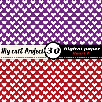Heart 1 - DIGITAL PAPER - Instant Download - Scrapbooking - A4 & 12x12""