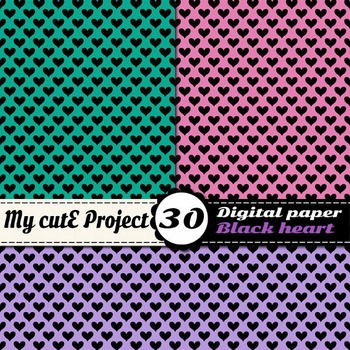 "Heart 2 - DIGITAL PAPER - Instant Download - Scrapbooking - A4 & 12x12"""