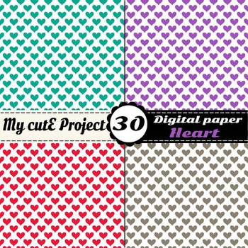 "Heart 4 - DIGITAL PAPER - Instant Download - Scrapbooking - A4 & 12x12"""